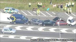 The six-vehicle collision on the M6 near Wolverhampton