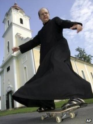 Zoltan Lendvai in front of his church in Gaborjanhaza, Hungary