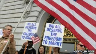 Supporters of same-sex marriage protesting in California