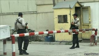 Afghan private security guards in Kabul
