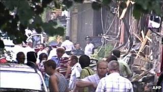 Scene of the blast in central Pyatigorsk 17 Aug 2010 (Russian NTV channel image)