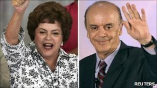 Dilma Rousseff and Jose Serra