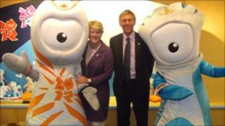 BBC presenter Clare Balding and ex-world record holder David Moorcroft with mascots