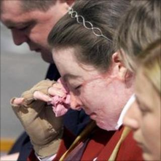 Donna Marie McGillion at a memorial service in Omagh a year after the bomb