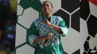 Femi Kuti performs during the opening ceremony of the 2010 football World Cup at Soccer City stadium in Soweto, South Africa, 11 June