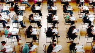 Students sitting A-level exam
