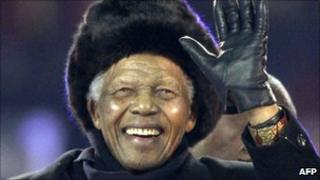 Nelson Mandela at the World Cup final in Soweto on 11 July 2010