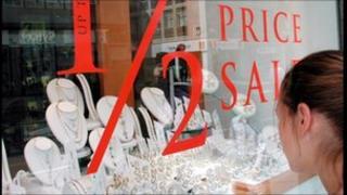 Window display in jeweller's shop