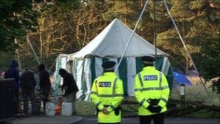 Police at Gogarburn camp