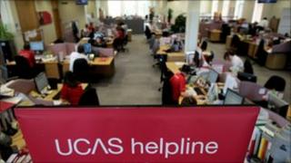 Employees in the Ucas clearing house call centre answers telephone enquiries