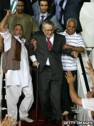 Libyans greeting freed Lockerbie bomber Abdelbaset Ali Mohmet al-Megrahi