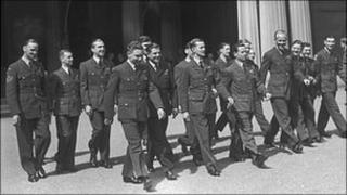 Members of the Dambusters squadron at Buckingham Palace in 1943