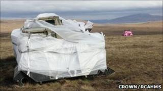 Bubble wrapped and pink APC at Cape Wrath. Image: Copyright Crown/RCAHMS