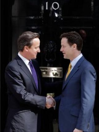 Nick Clegg and David Cameron shake hands outside 10 Downing Street