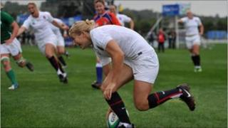 England's Fiona Pocock runs in to score a try against Ireland during the Women's World Cup
