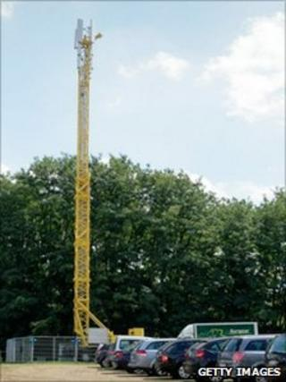 The mast behind the festival venue in Belgium
