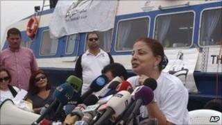 Samar al-Hajj in front of the Mariam in Tripoli, Lebanon, 22 August