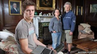 Josh Hogg with his parents Gavin and Vina Hogg at their home in Brecon