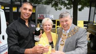 Tony Earnshaw with Swindon mayor and mayoress