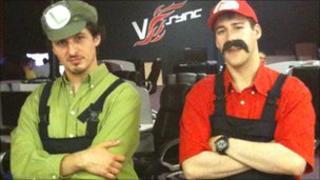 Trystan Cook and James Johnson dressed as the Super Mario Bros