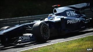 A Williams Formula One car sponsored by RBS