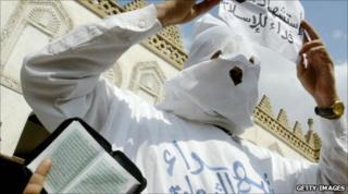 A Muslim Brotherhood demonstrator in Cairo in 2006