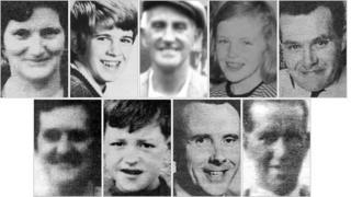 Nine people died when three bombs exploded in Claudy. From top left: Rose McLaughlin; Patrick Connolly; David Miller; Kathryn Eakin; Joseph McCluskey; Elizabeth McElhinney; William Temple; Arthur Hone and James McClelland.