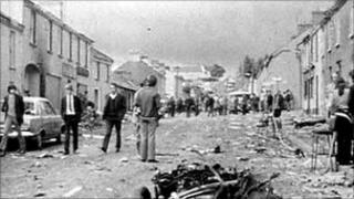 Scene in the aftermath of the Claudy bombings in July 1972