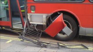 Bus and railings
