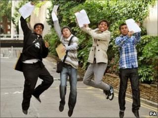 Boys from Pimlico Academy celebrate GCSE results