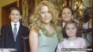 Theresa Riggi with Cecilia and twins Luke and Austin. (Picture obtained by the BBC)