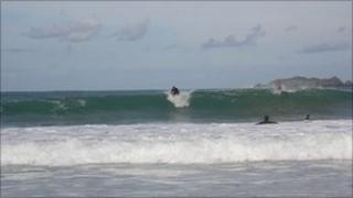 Surfers at Harlyn Bay