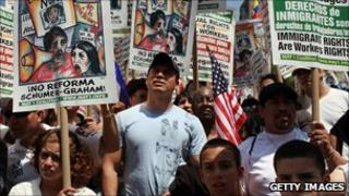 Hispanic voters demonstrate in favour of immigration reform in May