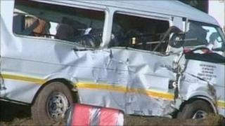 TV grab of crashed bus near Cape Town, South Africa, 25 August 2010