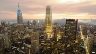 A rendering of the proposed building next to the Empire State Building
