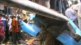 Congo crash site, still from local television
