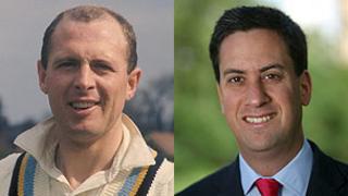 Geoffrey Boycott and Ed Miliband
