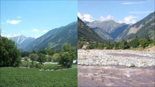 Before and after flood shot of a Swat valley, August 2010, Photo: Huma Beg