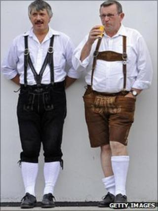 Bavarian men in traditional dress