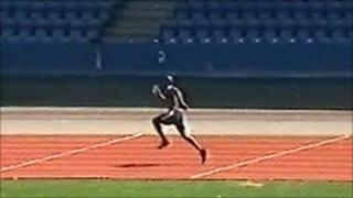 Image shows Matthew Thomas training at Croydon Athletics Track