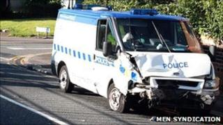 Pc Hannan's damaged van