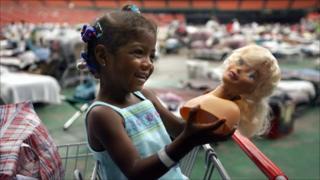Katrina evacuee in Houston Astrodome (2005)