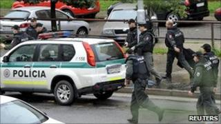 Bratislava police on scene of shooting, 30 Aug 10