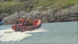 A rescue boat off the Anglesey coast