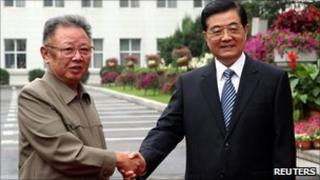 North Korea leader Kim Jong-il and Chinese President Hu Jintao in Changchun, China (27 August 2010)