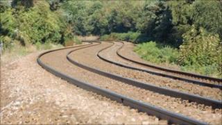 Rail tracks at Carlyon Bay