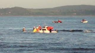 The sinking boat off Burry Port harbour