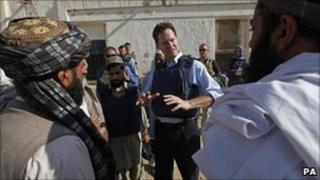 Nick Clegg talking to local people in Afghanistan