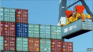 Container ship unloads