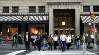 Shoppers outside Saks department store, New York